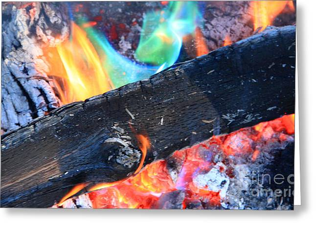 Fire In The Wood Greeting Cards - Camp Fire 1 Greeting Card by Michael Mooney