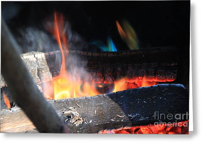 Fire In The Wood Greeting Cards - Camp Fire 2 Greeting Card by Michael Mooney