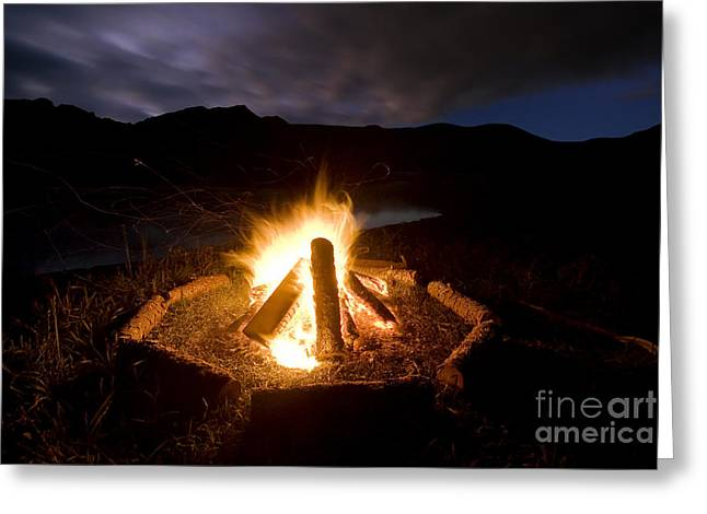 Photo Image Greeting Cards - Camp fire beside lake and mountains Greeting Card by Photo Image