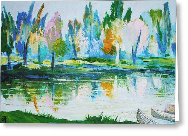 Canoe Paintings Greeting Cards - Camp lake and canoes Greeting Card by Siang Hua Wang