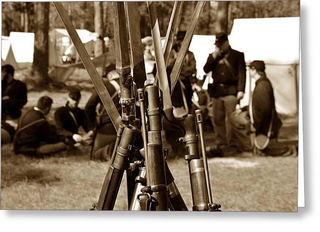 Bayonet Greeting Cards - Camp life Greeting Card by David Lee Thompson