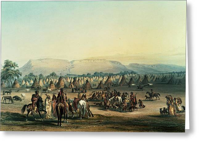 Dog Photographs Greeting Cards - Camp Of Piekann Indians Colour Litho Greeting Card by George Catlin