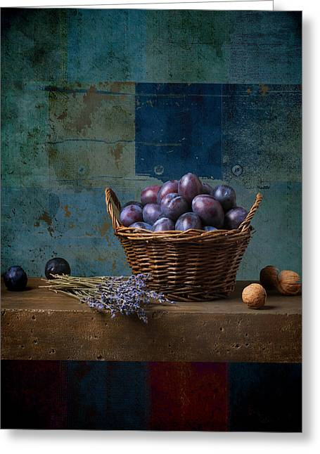 Blue Grapes Greeting Cards - Campagnard - Rustic - s01obv Greeting Card by Variance Collections
