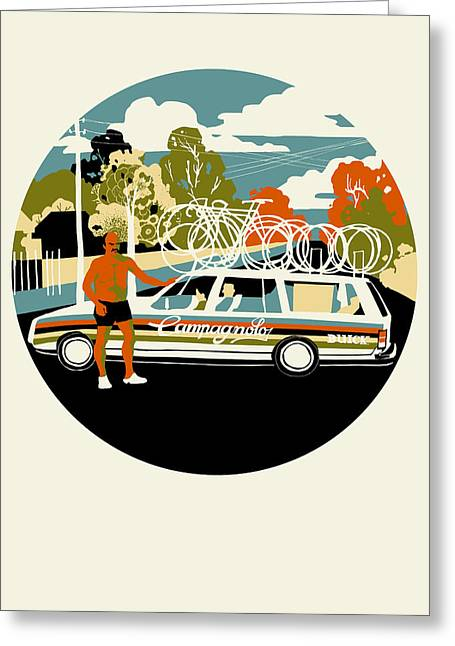 Support Drawings Greeting Cards - Campagnolo Team Car Greeting Card by Eliza Southwood