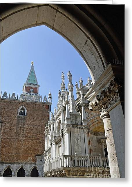 Palace Ducal Greeting Cards - Campanile and Doges Palace courtyard Greeting Card by Sami Sarkis