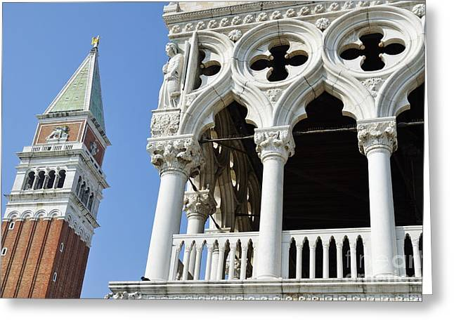 Palace Ducal Greeting Cards - Campanile and Doges Palace Greeting Card by Sami Sarkis