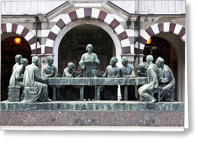 Breaking Statue Greeting Cards - Campari Grave Marker Last Supper Monumental Cemetery Milan Italy Greeting Card by Sally Rockefeller