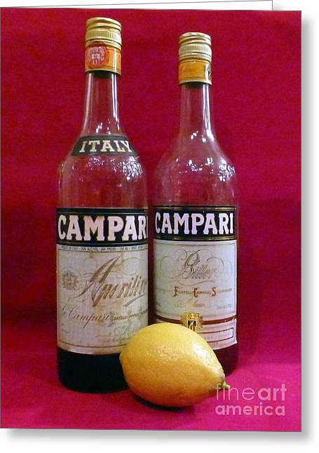 Labelled Greeting Cards - Campari with Lemon Still Life Greeting Card by Barbie Corbett-Newmin
