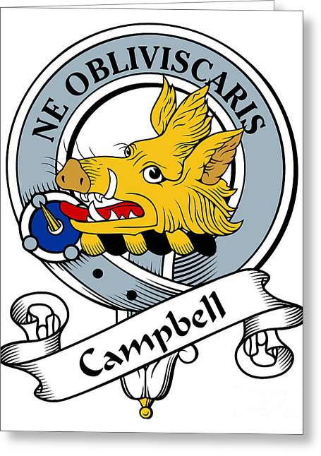 Campbell Clan Greeting Cards - Campbell Clan Badge Greeting Card by Heraldry