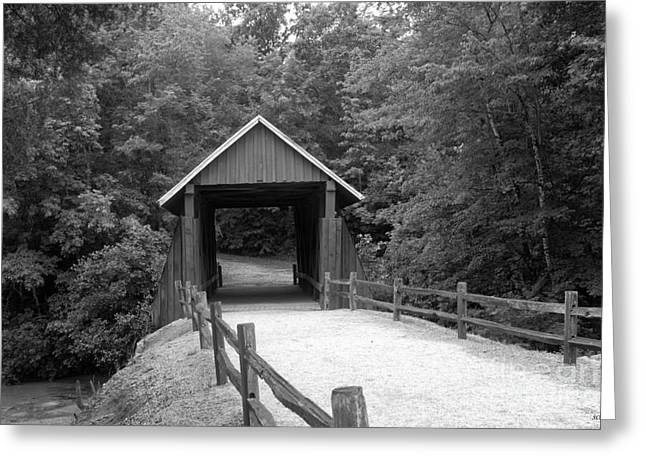Red Rock Crossing Greeting Cards - Campbells Cover Bridge in Black and White Greeting Card by Sandra Clark