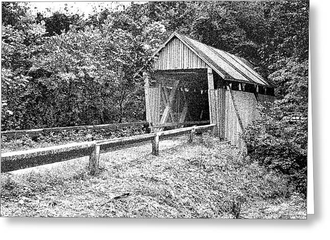 Historic Registry Mixed Media Greeting Cards - CAMPBELLS COVERED BRIDGE - Architectural Renderings - Built in 1909 Greeting Card by Andrew Wells