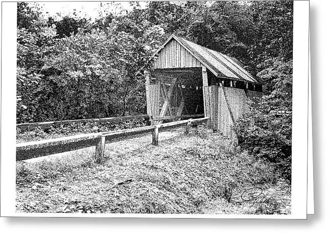 Historic Registry Mixed Media Greeting Cards - CAMPBELLS COVERED BRIDGE - Architectural Renderings Detail Greeting Card by Andrew Wells