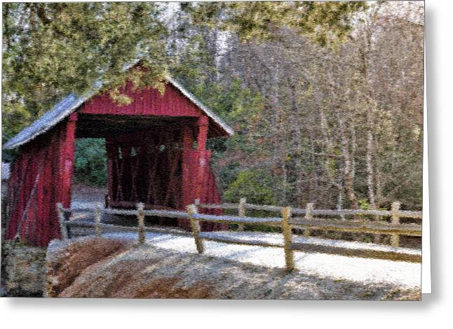 Campbell's Covered Bridge - Van Gogh Style Greeting Card by Jennifer Stockman