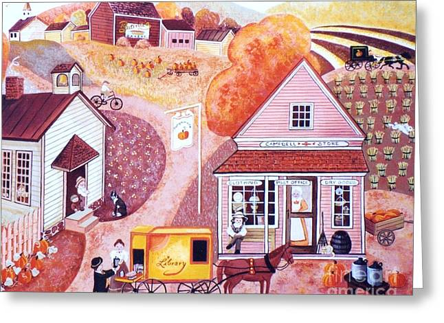 One Room School Houses Paintings Greeting Cards - Campbells General Store Greeting Card by Judy Redder