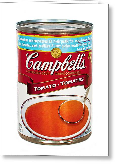 Enhanced Mixed Media Greeting Cards - Campbells Tomato Soup Can Greeting Card by Linda Muir