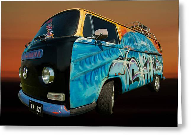Camper Van Paint Job Greeting Card by Pete Hemington