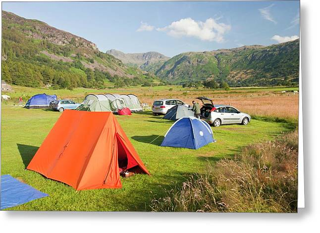 Campers On A Camp Site Greeting Card by Ashley Cooper