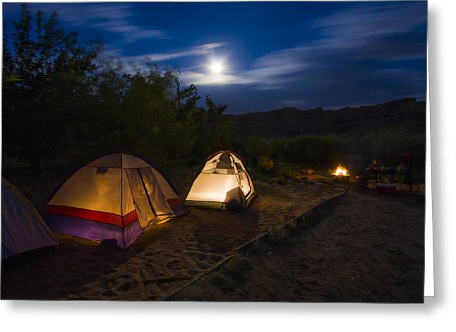 Warm Landscape Greeting Cards - Campfire and Moonlight Greeting Card by Adam Romanowicz