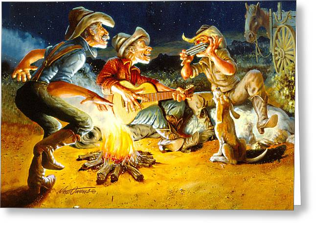 Campfire Concert Greeting Card by Nate Owens