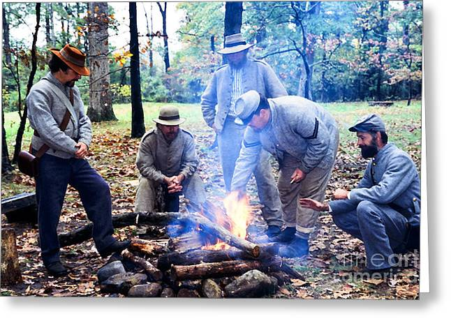 """battle Field"" Greeting Cards - Campfire Confederates Greeting Card by Thomas R Fletcher"