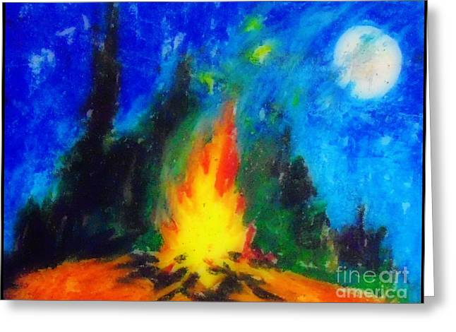 Surreal Landscape Pastels Greeting Cards - Campfire in Forest at Night Greeting Card by John Malone
