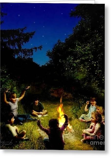 Spooky Digital Art Greeting Cards - Campfire Story Greeting Card by Tom Straub