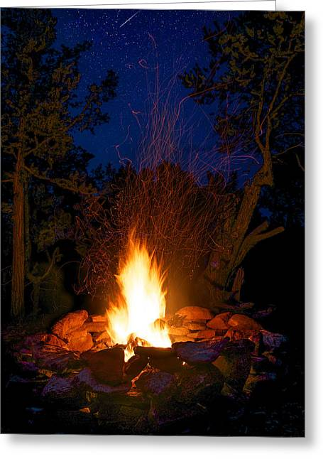 Colorado Wildfires Greeting Cards - Campfire Under the Stars Greeting Card by Aaron Spong