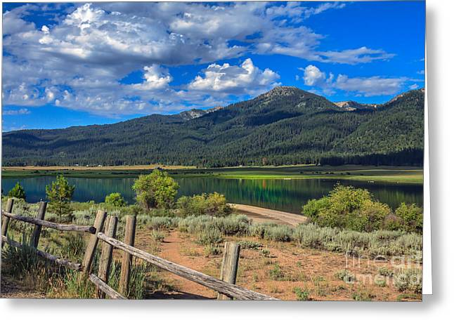 Haybale Greeting Cards - Campground View Of Lake Cascade Greeting Card by Robert Bales
