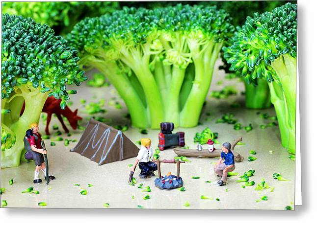 Broccoli Greeting Cards - Camping among broccoli jungles miniature art Greeting Card by Paul Ge