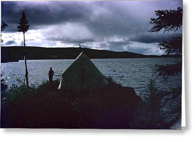 Surveying Greeting Cards - Camping in Labrador-1953 Greeting Card by George Cousins