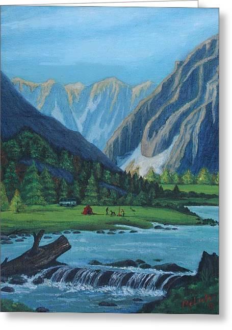 Babbling Paintings Greeting Cards - Camping in the Colorado Mountains Greeting Card by Melinda Saminski