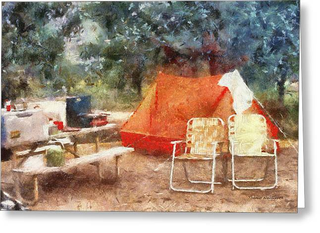 Water Jug Greeting Cards - Camping Photo Art Greeting Card by Thomas Woolworth