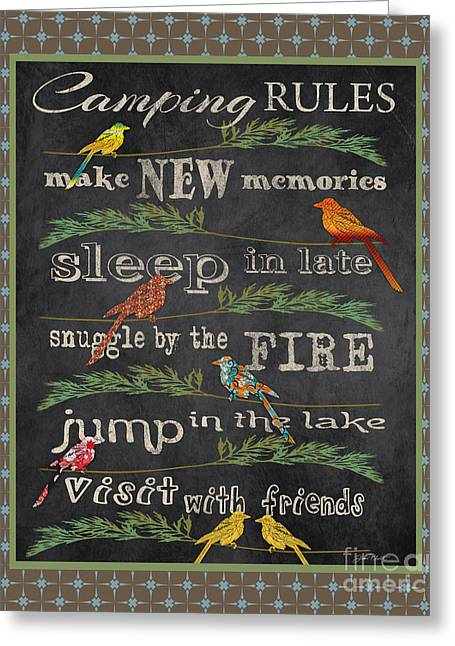 Flour Sack Greeting Cards - Camping Rules-A Greeting Card by Jean Plout