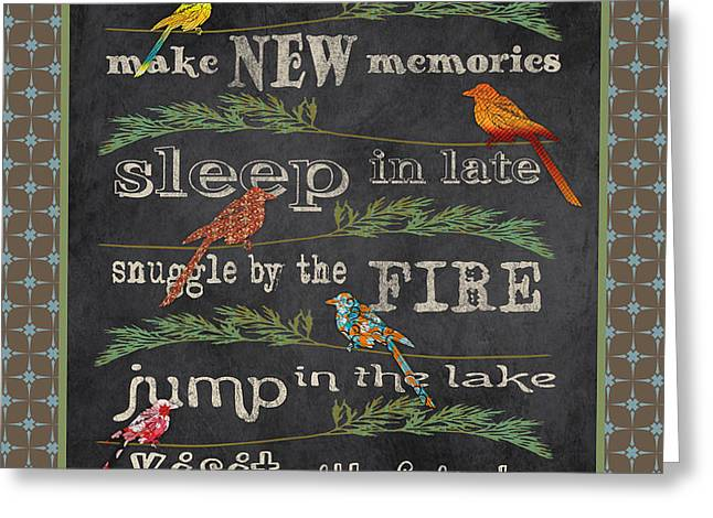 Flour Greeting Cards - Camping Rules-A Greeting Card by Jean Plout