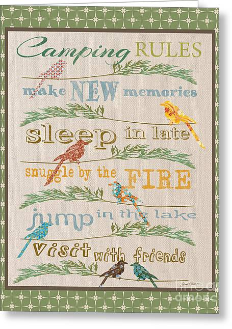 Flour Sack Greeting Cards - Camping Rules-B Greeting Card by Jean Plout