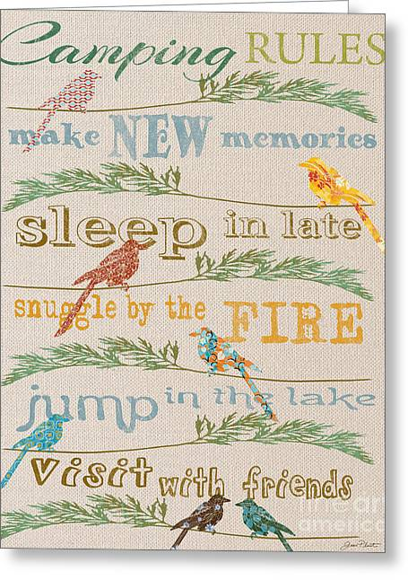 Flour Greeting Cards - Camping Rules-C Greeting Card by Jean Plout