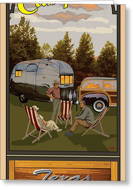 Lawn Chair Greeting Cards - Camping Texas RV Park Greeting Card by Jim Sanders