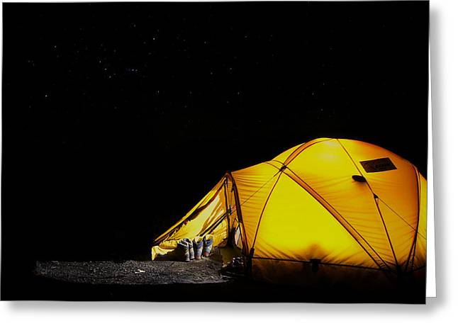 Clear Shoes Greeting Cards - Camping under the Stars Greeting Card by Mountain Dreams