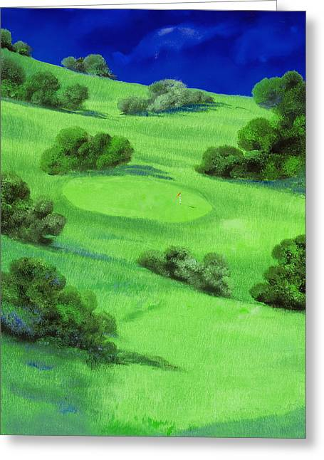 Course Greeting Cards - Campo Da Golf Di Notte Greeting Card by Guido Borelli