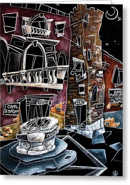 Illustrazione Greeting Cards - CamPo SAn BoLDo - Arte Moderna Contemporanea di Venezia Greeting Card by Arte Venezia