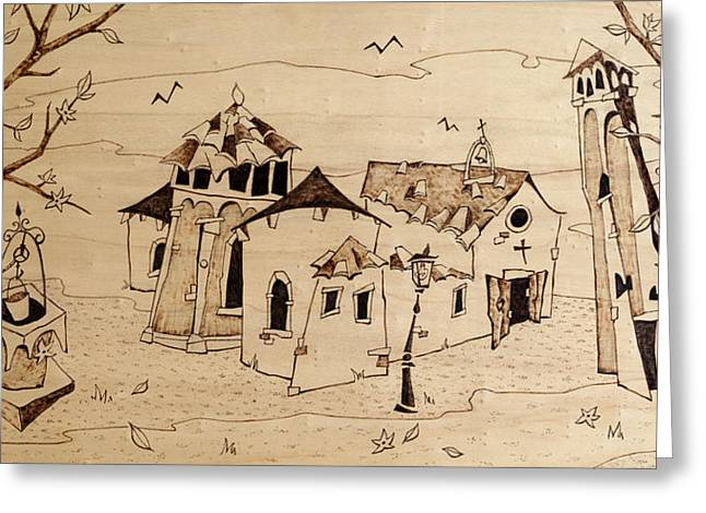 Tower Pyrography Greeting Cards - Campo San Giacomo Church Venice Greeting Card by Arte Venezia