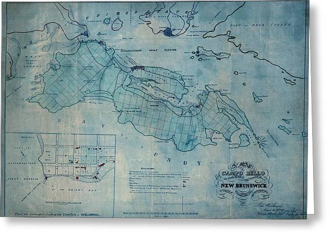Vintage Map Photographs Greeting Cards - Campobello Island 1830 Greeting Card by Andrew Fare