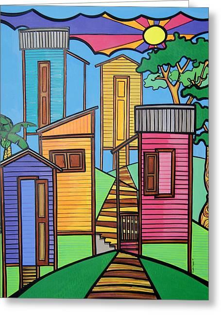 Puerto Rico Greeting Cards - Campos de Borinquen Greeting Card by Mary Tere Perez