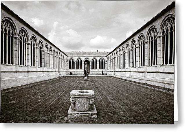 Florence Greeting Cards - Camposanto Monumentale in Sepia Greeting Card by Susan  Schmitz