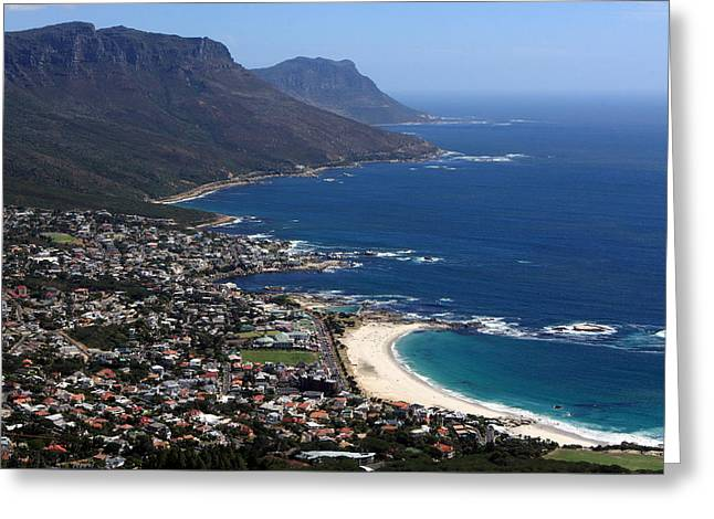 View Of Camps Bay And Bakoven Bay Greeting Card by Aidan Moran
