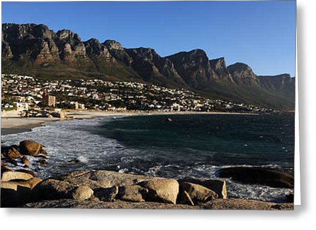 Mountain Greeting Cards - Camps Bay With The Twelve Apostles Greeting Card by Panoramic Images