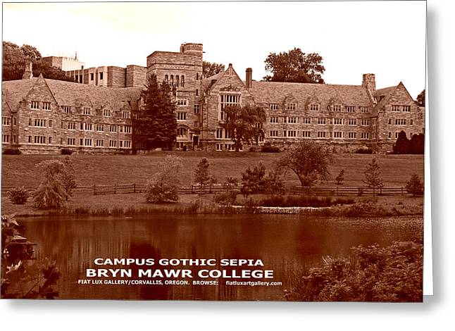 Bryn Mawr Greeting Cards - Campus Gothic Sepia Greeting Card by Mike Moore FIAT LUX