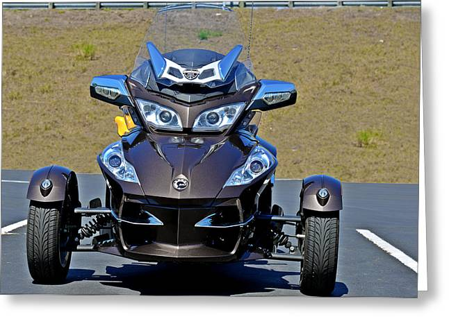 Three Speed Greeting Cards - Can-Am Spyder - The Spyder Five Greeting Card by Christine Till