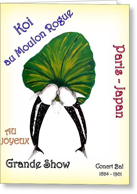 Sakana Greeting Cards - Can-Can Koi Painting Greeting Card by Gordon Lavender