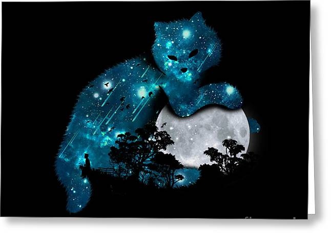Kitty Digital Art Greeting Cards - Can I haz the moon Greeting Card by Budi Satria Kwan